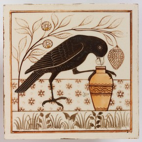 Tile painted with an image inspired by Aesop's Fables, Minton, Hollins & Co., about 1875. Museum no. C.186E-1976