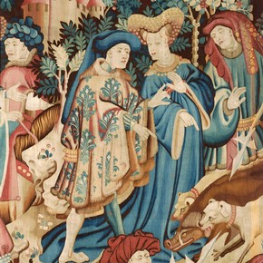 Detail of The Devonshire Hunting Tapestries; Boar and Bear Hunt, unknown maker, about 1425-1430. Museum no. T.204-1957