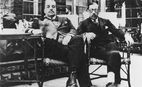 Serge Diaghilev (1872-1929) and Igor Stravinsky (1882-1971), black and white photograph, Spain, 1921.  Victoria &amp; Albert Museum, London