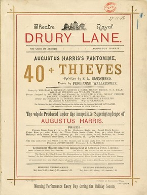 Programme from 'The Forty Thieves', Theatre Royal, Drury Lane, London, 1886.  Victoria and Albert Museum, London