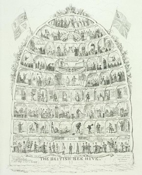 'The British Beehive', etching by George Cruikshank, England, 1867. Museum no. 9779.6