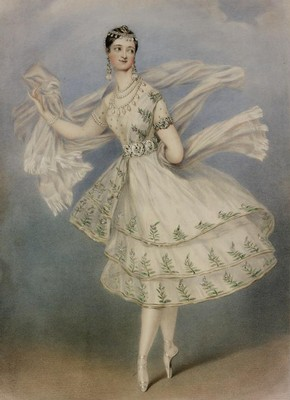 Marie Taglioni as Bayadère, coloured lithograph, 1831. Museum no. E.5046-1968