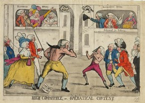 High Committee, or Operatical Contest, Haymarket Theatre, London, late 18th to early 19th century, coloured print