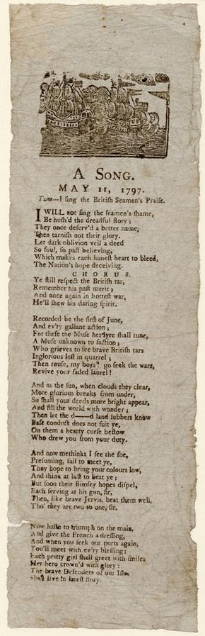 Printed ballad sheet, May 1797. Museum no. S.1243-1386