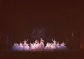Colour photograph of Les Sylphides, a performance by the Royal Ballet Touring Company, 1963