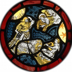 The Annunciation to the Shepherds, stained glass panel, about 1340. Museum no. 2270-1900, bequest of Henry Vaughan