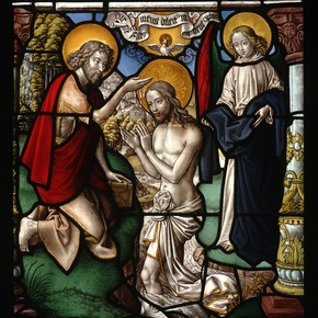 Painted and stained glass depicting the Baptism of Christ, by Gerhard Rhemish, Germany, 1500-49. Museum no. C.311-1928