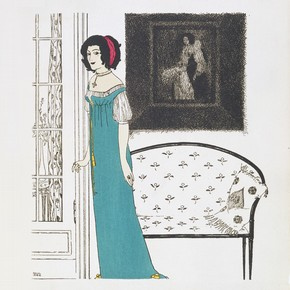 Plate 4 from 'Les Robes de Paul Poiret, racontes par Paul Iribe' pochoir colour print by Paul Iribe, published by Paul Poiret, 1908. Pressmark 211073 NAL