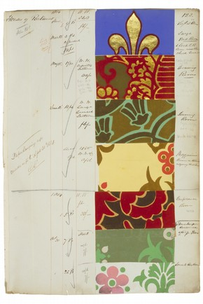 Page from a sample book of wallpapers, 1851-9. Museum no. E.137:10-1939