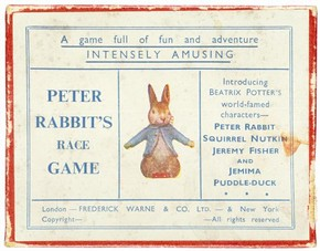 Beatrix Potter, 'Peter Rabbit's Race Game' showing the top of the lid, Made by Frederick Warne, c.1930, Museum no. MISC.41-1977