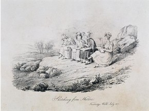 'Sketching from nature', lithograph by unknown artist, England, about 1830. Museum no. E.223-2002