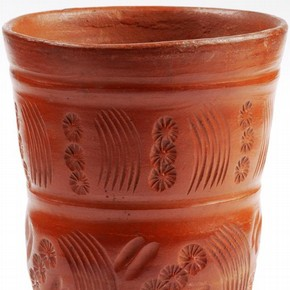 Unpainted earthenware dimpled ceramic Bucaro cup, Tonalá, Mexico, between 1600-1700. Museum no. 307-1872