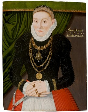 Oil portrait of a woman in her 29th year, north-west Germany, 1582. Museum no. 4833-1857