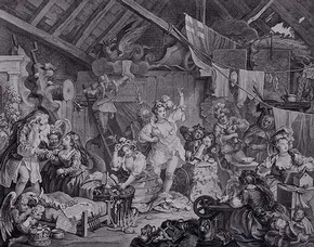 Hogarth, Strolling Actresses in a Barn, 1738. Museum no. E.1273-1990