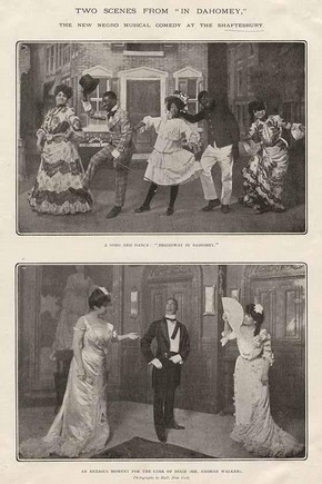 Two scenes from In Dahomey at Shaftesbury Theatre, The Sketch magazine, 1903. Museum no. 131655