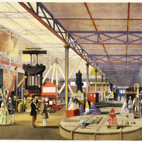 The Machinery Court at the Great Exhibition by Joseph Nash. Museum no. NAL 207747