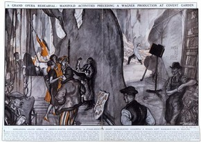 Illustration of rehearsal of Wagner's opera Die Walküre at Covent Garden Theatre, London, May 1927