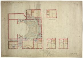 Plan for the new Bedford Music Hall, Bertie Crewe, 1898. Museum no. THM/335/1/1/2, © Victoria and Albert Museum, London