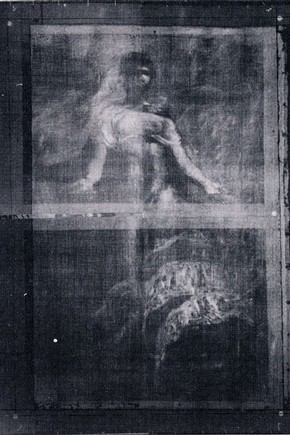 Fig. 2. X- radiograph revealing the figure of La Republique beneath the 'Woodsawyer'