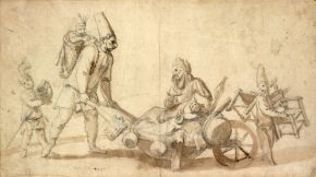 Itinerant Commedia dell'Arte performers, anonymous pencil and wash drawing, undated. Museum no. S.726-1997. © Victoria and Albert Museum, London