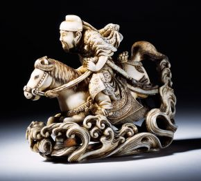 Netsuke depicting Raiden, the god of wind, thunder and lightning, Japan, 19th century, carved ivory. Museum no. A.741-1910, © Victoria and Albert Museum, London