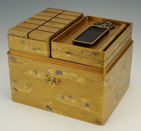 Incense game box, Japan, items range from late 17th to early 19th century, lacquered wood with gold and silver decoration. Museum no. W.319-1916, © Victoria and Albert Museum, London