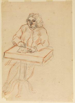 Sketch of William Kent at his desk, attributed to Dorothy Boyle, Countess of Burlington, after 1720, pencil, black and red chalks. © Devonshire Collection, Chatsworth. Reproduced by permission of the Chatsworth Settlement Trustees, 26,31. Photographer: Bruce White