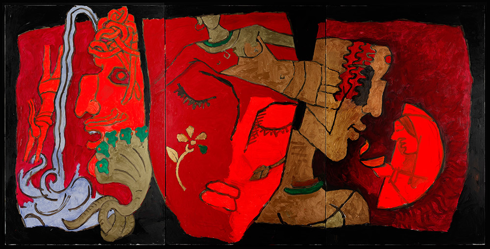 M.F. Husain, Hindu Triad, 2008-2011. Courtesy of Usha Mittal, © Victoria and Albert Museum, London