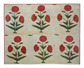 Floor spread of resist-dyed and mordant dyed cotton, Mughal, possibly made in Burhanpur, late 17th century-early 18th century, IM.69-1930. Victoria and Albert Museum, London.