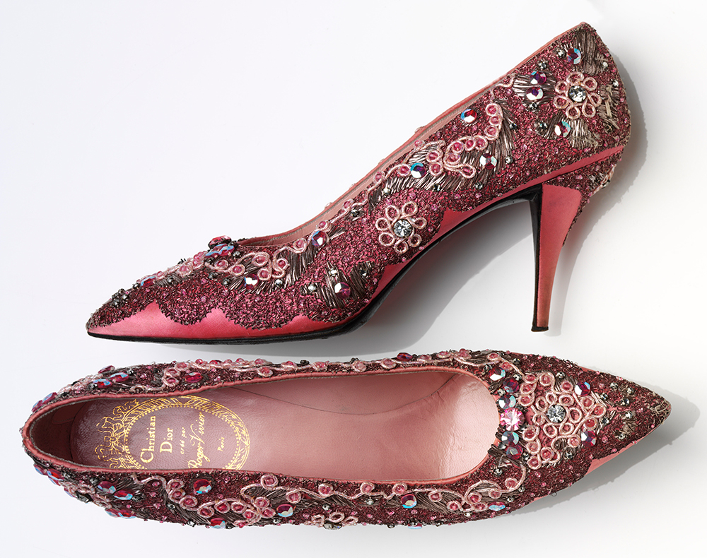 3a255df70 Roger Vivier (1907—98) for Christian Dior (1905—57) Evening shoes Beaded  silk and leather France, 1958—60 V&A: T.149+A—1974. Image © Victoria and  Albert ...