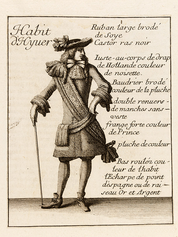 Man in a Winter Suit with Cane, Jean Le Pautre after Jean Bérain, from the fashion supplement of Le Mercure Galant, 1678, France, etching and engraving. Museum no. E.266-2014, © Victoria and Albert Museum, London