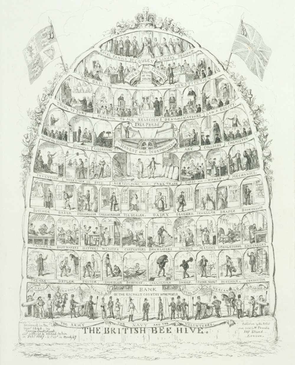 The British Beehive Etching By George Cruikshank England 1867 Museum No 97796