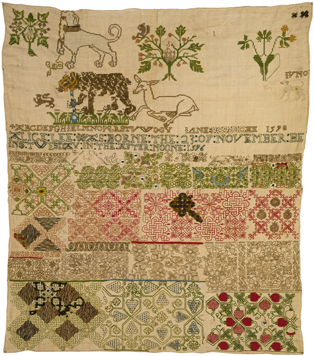 Linen sampler embroidered with silk and metal, by Jane Bostock, England,  1598. Museum no. T.190-1960