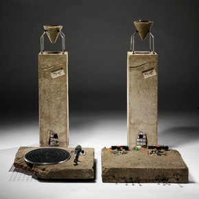 Ron Arad, Concrete Stereo, 1983. Stereo system set in concrete. Museum no. V&A: W.7-2011