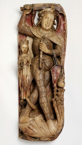 Saint Michael Attacking the Dragon and Weighing a Soul relief, unknown maker, about 1430-1470. Museum no. A.209-1946