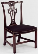 Chair, 1765-70, made by an unknown cabinet maker after a design by Thomas Chippendale, Britain. Museum no. W.67-1940