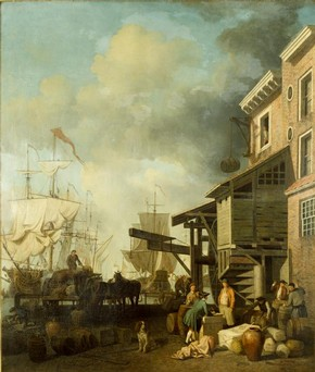 A Thames Wharf, oil painting, Samuel Scott, about 1757. Museum no. FA.249[O]
