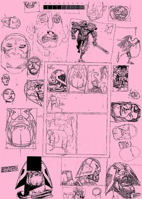 Collage of working sketches by Mike McMahon