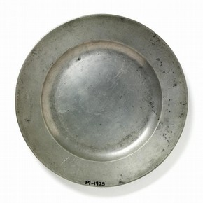 Plate, cast pewter, London, England, 1751, museum number: 19–1905