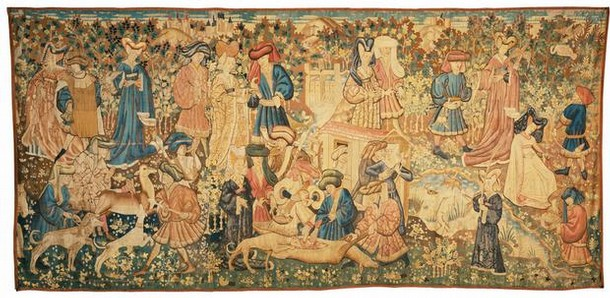 'Deer Hunt', woven wool tapestry, Netherlands, possibly Arras, 1440-50. Museum no. T.205-1957