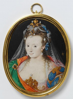 Portrait miniature of an unknown woman in a masque costume, painted by Oliver Isaac, watercolour on vellum, probably England, circa 1609, presented by The Art Fund. Museum no. P.3-1942