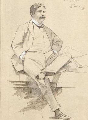 George Edwardes, pencil drawing by Louis Gunnis, London, 1896