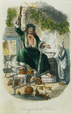 Print depicting the scene in which Scrooge's third vistor appears, from Charles Dickens' A Christmas Carol, John Leech, 1843. Museum no. E.986-1971