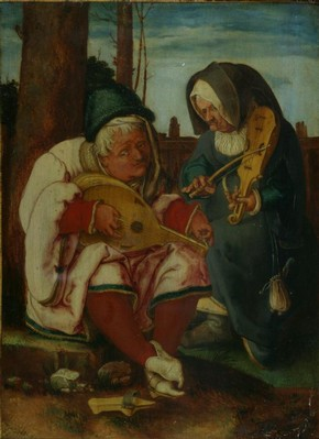 Oil painting, Musicians: An Old Man and an Old Woman, Lucas van Leyden, Netherlands, bequeathed by John M. Parsons, 1870