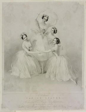 Print of the celebrated Pas De Quatre, composed by Jules Perrot as danced at Her Majesty's Theatre, lithograph, 12 July 1845. Museum no. E.5033-1968