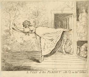 Print of A Peep at The Parisot, lithographic print, late 18th century