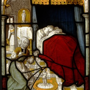 The First Miracle of St. Nicholas, stained glass panel, about 1520-5. Museum no. 213-1908. © Victoria & Albert Museum, London