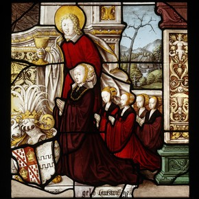 Painted and stained glass panel depicting Margaretha von Einenberg-Landskron and her four daughters, Mariawald Abbey, Germany, 1500-99. Museum no. C.326-1928