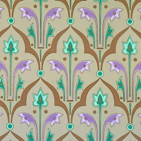 Wallpaper with formalised floral motif, Owen Jones, mid-19th century. Museum no. 8341.57