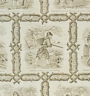 Nursery wallpaper illustrating episodes from 'Robinson Crusoe' by Daniel Defoe, about 1875-1900. Museum no. E.714-1952